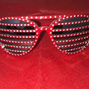 *** NEW *** Striped Rhinestone Sunglasses- Red